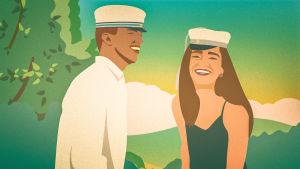 Illustration av två glada yrkesexaminander framför ett somrigt landskap.