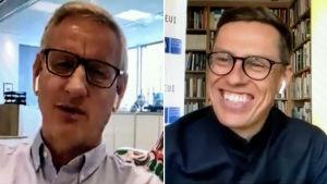 Collage av två bilder. Till vänster Carl Bildt och till höger Alexander Stubb.