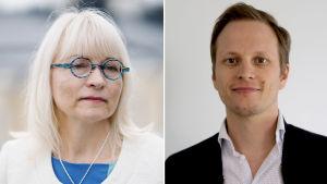 Collage av två bilder. Till vänster Päivi Sillanaukee och till höger Jussi Sane.