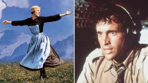 Collage av två bilder från två filmerna Sound of Music och Airplane!