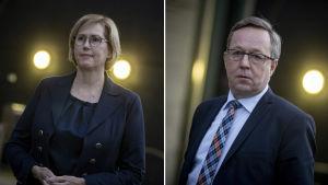 Collage av två bilder. Till vänster syns Tuula Haatainen, till höger Mika Lintilä.