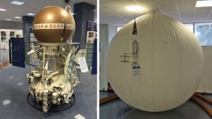 VeGa-luotaimen testimalli ja sen ilmapalloluotain esillä IKI-avaruustutkimuskeskuksessa, Moskovassa.