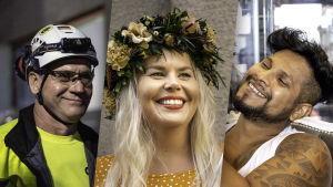 Kolmen videon päähenkilöitä - Arvo, Eeva ja Alex