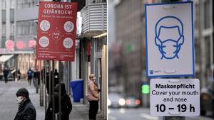 """Collage av två bilder. Till vänster syns en bild från Krefeld i Tyskland där människor bär munskydd och en skylt med texten """"Corona är farligt"""" hänger uppe. Till höger syns en skylt i Dusseldorf med en uppmanan till folk att använda munskydd."""