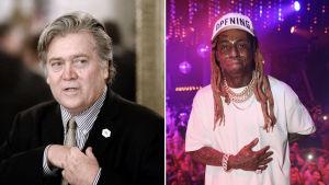 Collage av två bilder. Till vänster Steve Bannon, till höger Lil Wayne.
