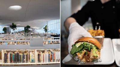 Bokhyllor i ett bibliotek och mat på en bricka.