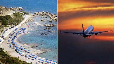 Collage av två bilder. Till vänster en bild av en strand i Rhodos, Grekland, till höger ett flygplan i luften.