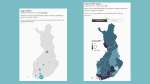 Två skärmdumpar av en Finlandskarta. Den ena visar cirklar med siffror inuti, den andra visar graderade fält.
