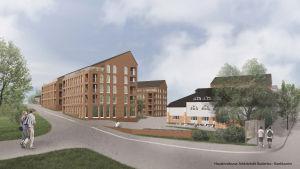 Illustration av kvarteret där Borgå Energi-huset finns. Bredvid det skulle byggas stora höghus med upp till fem våningar.