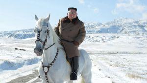 Kim Jong-un sitter på en vit häst med snöbeklädda berg i bakgrunden.