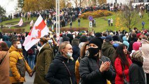 Oppositionsanhängare i Minsk.