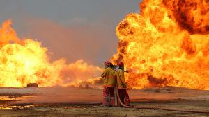 Brandmän försöker släcka brand på oljefält i Kirkuk som IS-krigare tänt på.
