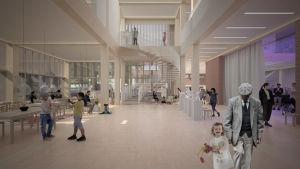 Modellbild inifrån på nytt campus vid Björneborg svenska samskola.
