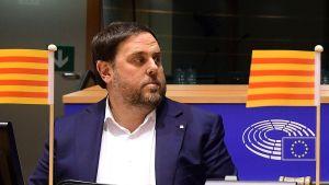 Oriol Junqueras på en arkivbild från januari 2017 när han var katalansk vice president och deltog i ett EU-möte i Bryssel.
