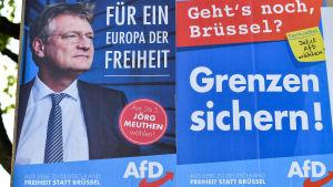 Kampanjaffisch för det högerpopulistiska partiet Afd:s kandidat Jörg Meuthen i Tyskland 7.5.2019