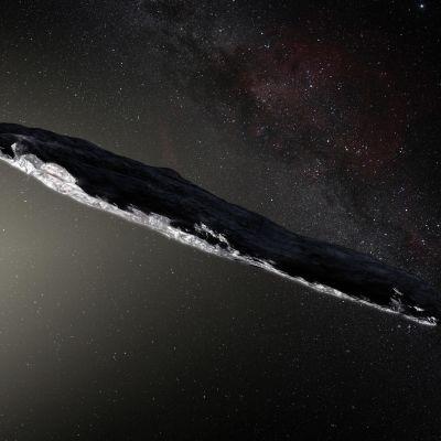 Konstnärens vision av Oumuamua.