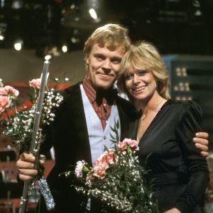 Vesa-Matti Loiri ja Marion Rung voittoisan euro- ja interviisukarsinnan jälkeen vuonna 1980