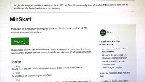 Skärmdump från Minskatt tjänsten.