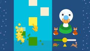 Ett av spelen i julkalendern i BUU-klubbens app. Här ska man dutta på nedfallande bitar så att det blir musik.