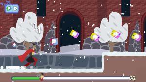 Super-Malin springer och hoppar i ett av julkalenderspelen i BUU-appen.