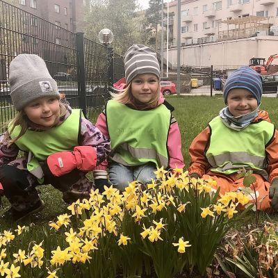 Tre dagisbarn med gula västar sitter i gräset en mulen dag.