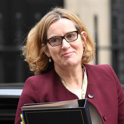 Amber Rudd anlände till ett regeringsmöte på Downing Street den 24 april.