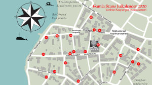En karta över gamla stan i Ekenäs