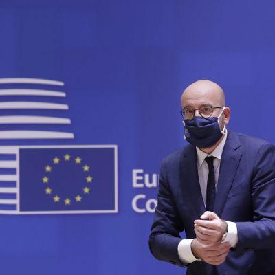 Eurooppa-neuvoston puheenjohtaja Charles Michel huippukokouksessa.