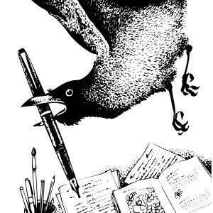 Tecknad bild på en tjuvaktig korp med penna i näbben.