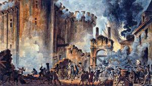 Målning av stormningen av Bastiljen under franska revolutionen