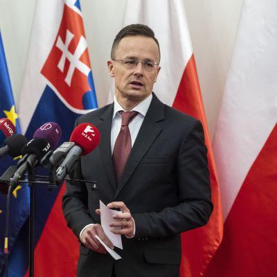 Unkarin ulkoministeri Péter Szijjártó tiedotustilaisuudessa 13. maaliskuuta 2020.