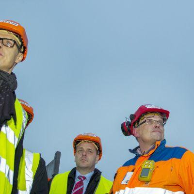 Alexander Stubb och Jan Vapaavuori besökte Talvivaaragruvan den 14 november 2014.