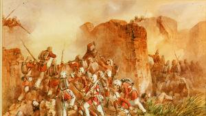 Maalaus brittisotilaista taistelussa sepoy-kapinallisia vastaan