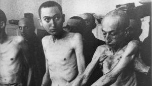 Utmärglade Auschwitzfångar fotade efter att lägre befriades 1945.