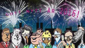 Karikatyr av riksdagspartiernas partiledare som firar nyår 2016