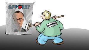 Karikatyr av Carl Hagluund putsas upp av Miltton