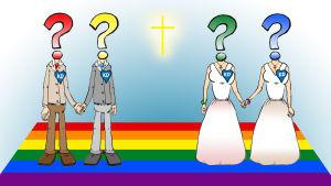 Illustration av homosexuella par som gifter sig