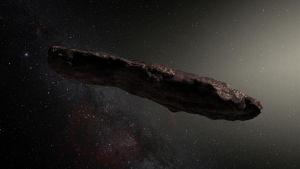Konstnärens tolkning av Oumuamua.