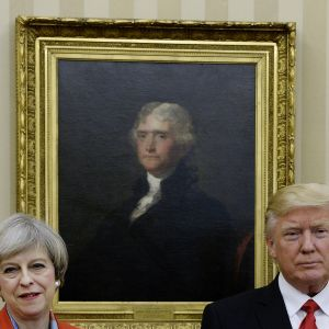 Theresa May på besök i Vita huset hos Donald Trump 27.1.2017.