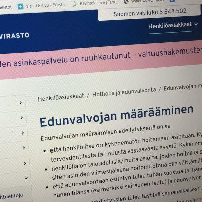 Ruutukuva Digi- ja väestötietoviraston sivuilta, netistä, jossa kerrotaan asiakaspalvelun olevan ruuhkautunut.