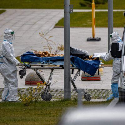 Ambulanspersonal förde in en patient till en covid-avdelning på sjukhuset Kommunalka, utanför Moskva, på lördagen.