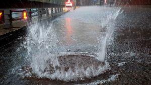 Vatten sprutar ut på gatan ur en gatubrunn i Gräsviken, Helsingfors, till följd av kraftigt regn. Gatan är översvämmad.