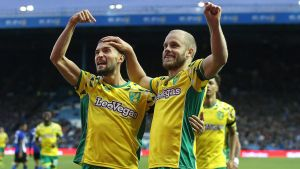 Sheffield Wednesday mot Norwich City i Sky Bet Championship Teemu Pukki firar ett mål.