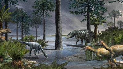 Dinosaurier i en skog med regnet som häller ned.