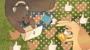 Karhu ja jänis viettävät aikaa sosiaalisessa mediassa.