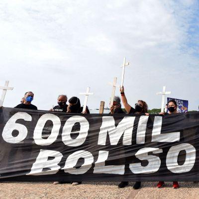 Demonstration mot president jair Bolsonaro på grund av hanteringen av coronapandemin