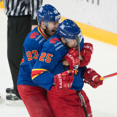 Peter Regin och Pekka Jormakka firar mål för Jokerit.