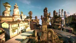 Ett animerat fantasylandskap med hus som tycks sväva i ett himlalandskap