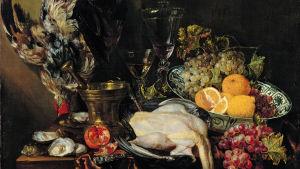 Abraham Hendricksz. van Beyeren: Prunkstilleben med frukt och fjäderfä (1651)