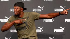 Usain Bolt under tisdagens presskonferens i London.